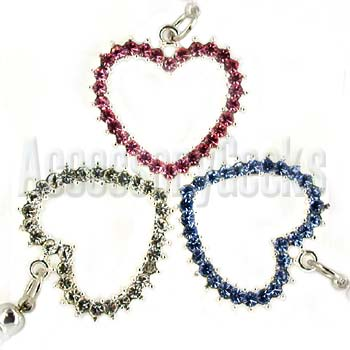 Charms - Baby Blue, Pink, and Silver Big Heart Cubic Stone Strap